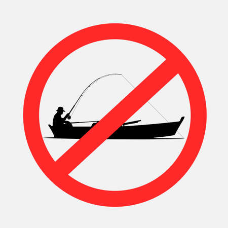 Boat fishing prohibited sign symbol on gray background. Forbidden fish catch from boats. No fishing on water