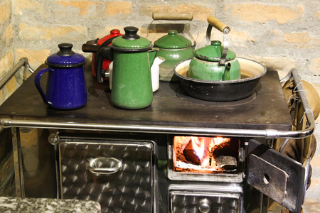 oldstyle: Oldstyle cofee and tea on a wood oven