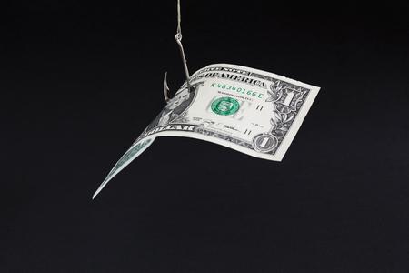 Moneydollar bait in a black background