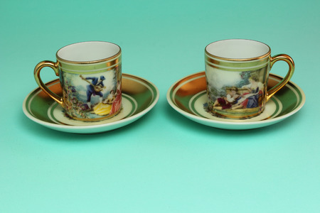 coffee cups: Old fashioned coffee cups.