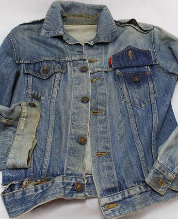 bluejeans: Vintage blue jeans coat (1972) on a white background.