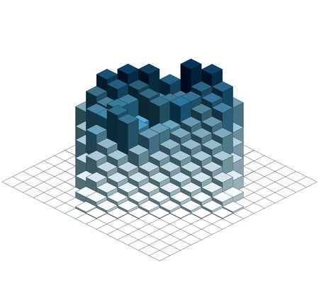 Infographic Isometric Vector Graph, Abstract 3D Chart Background