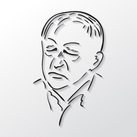 geschlossene augen: Vektor-Zeichen steht vor alten M�nner mit geschlossenen Augen, schwarze und wei�e Skizze Illustration