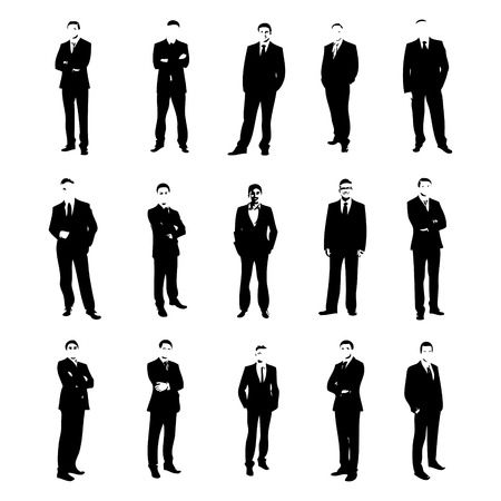 Vector set men silhouettes in costumes Vector