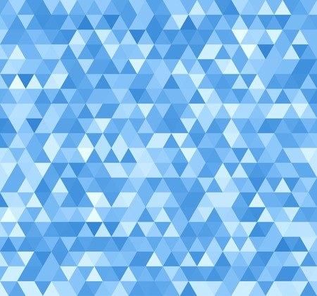 Blue Seamless Triangle Abstract Background. Vector Pattern of Geometric Shapes