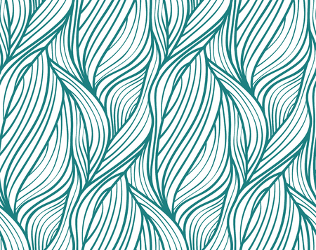 Abstract vector seamless wave background of plants drawn lines Vector