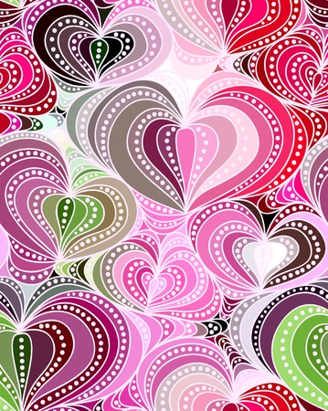 Vector abstract seamless background of colorful hand drawn hearts Vector