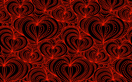 red hand: Vector abstract seamless background of red hand drawn hearts