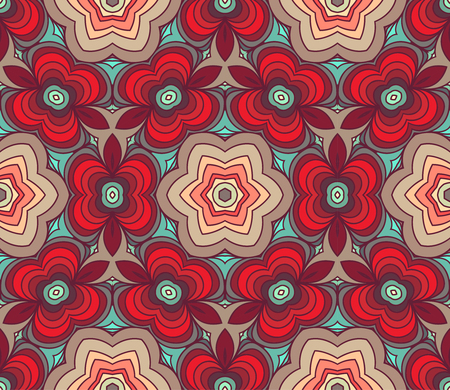 Vector Red Seamless Wallpaper. Vintage Pattern. Retro Background of Drawn Lines