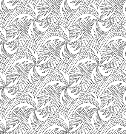 Abstract vector seamless wave background of black doodle drawn lines Vector