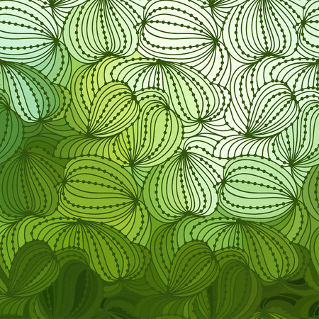 Abstract wave green background of plants drawn lines Vector