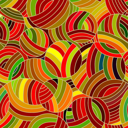 Abstract vector seamless wave colorful background of doodle drawn lines Vector