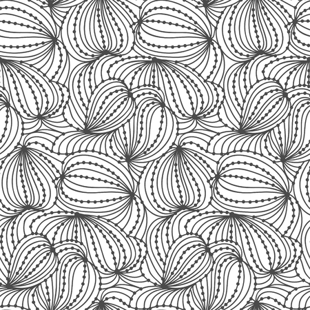 Abstract seamless wave background of black doodle drawn lines