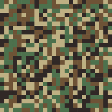 Abstract Vector Military Camouflage Seamless Background Made of Geometric Square Shapes