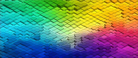 colours: Isometric Graphic Pattern. Abstract Vector 3D Geometric Colorful Background
