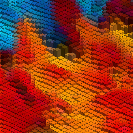 Isometric Graphic Pattern. Abstract Vector 3D Geometric Colorful Background