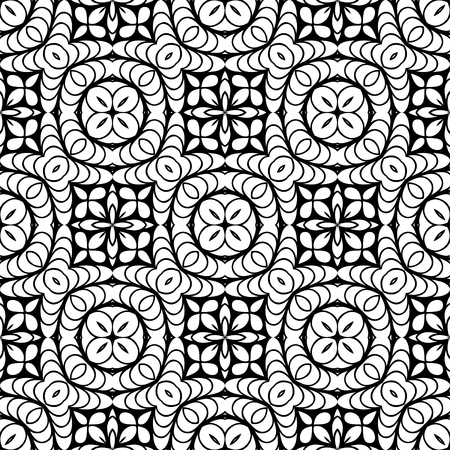 Vector Black White Seamless Wallpaper. Vintage Pattern. Retro Background