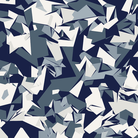 Abstract Vector Blue Military Camouflage Background. Pattern of Geometric Triangles Shapes Illustration