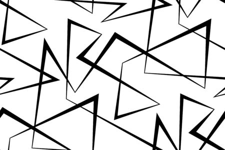 Abstract vector seamless background of broken lines. Monochrome striped pattern. Black white wallpaper.
