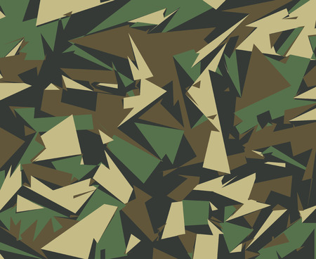 Abstract Vector Military Camouflage Background. Camo Pattern of Geometric Triangles Shapes for Army Clothing.