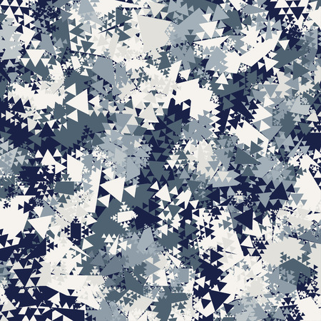 Abstract Vector Blue Military Camouflage Background. Pattern of Geometric Triangles Shapes for Army Clothing Vettoriali