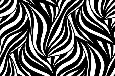 leaf line: Abstract vector seamless floral background of doodle hand drawn lines. Monochrome pattern. Black white wave wallpaper. Illustration
