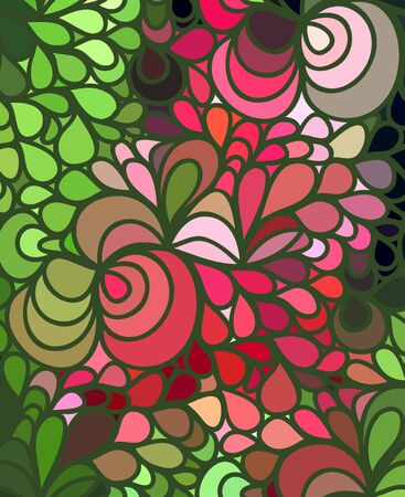 Abstract vector color wave background of doodle hand drawn lines. Colorful floral pattern.