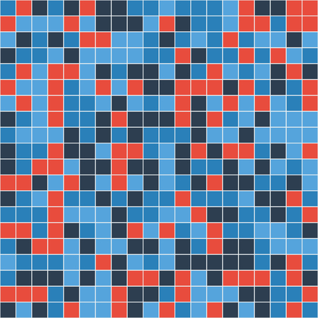 Mosaic tiles texture vector color pattern. Square pixel seamless colorful background