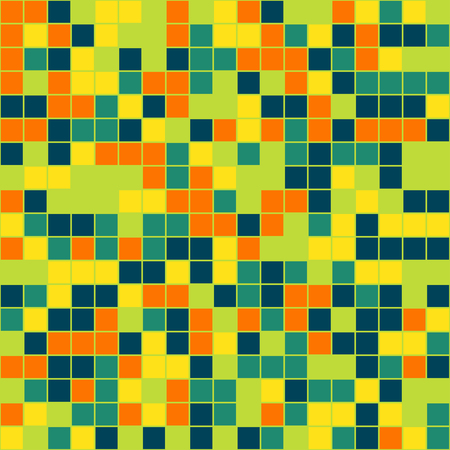 casing paper: Mosaic tiles texture vector color pattern. Square pixel seamless colorful background