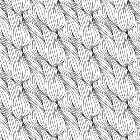 Abstract seamless floral background de lignes dessinées à la main doodle. motif d'onde Monochrome. Coloriage page du livre. Noir fond d'écran blanc.
