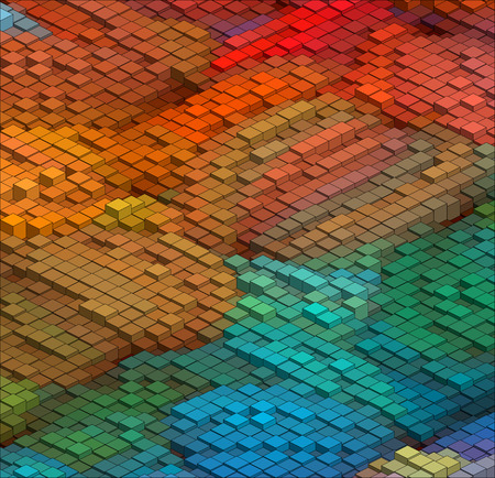 Isometric Graphic Pattern. Abstract Vector 3D Geometric. Colorful Background