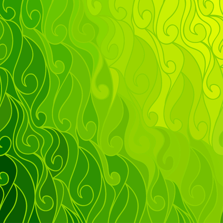 Abstract vector color background of doodle hand drawn lines. Colorful floral pattern. Wave green wallpaper Illustration