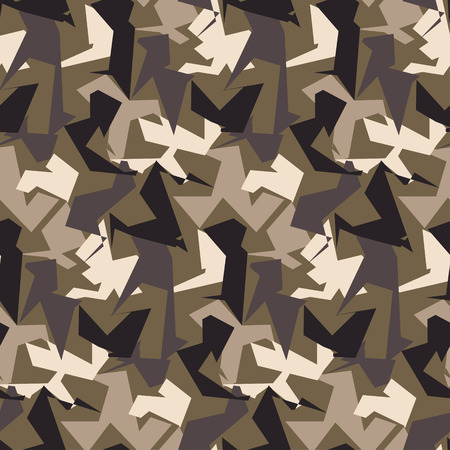 Abstract Vector Military Camouflage Seamless Background. Pattern of Camo Geometric Triangles Shapes for Army Clothing.