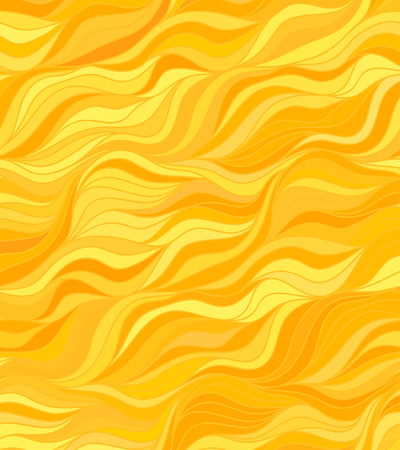 Abstract vector color background of doodle hand drawn lines. Gold floral pattern. Wave yellow wallpaper