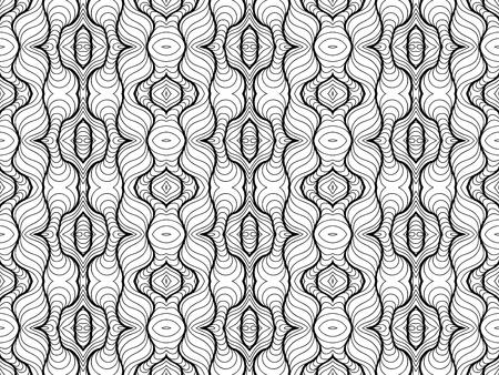 Vector Black White Seamless Wallpaper. Vintage Monochrome Pattern. Retro Background