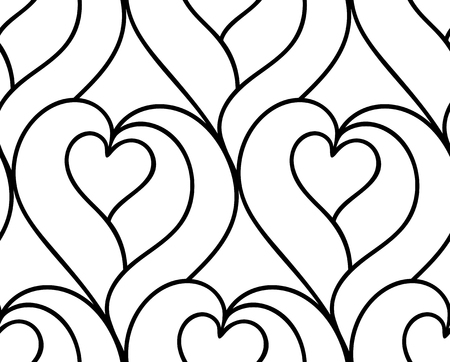 Abstract vector seamless floral background of doodle hand drawn lines. Monochrome wave pattern. Coloring book page. Black white heart wallpaper.