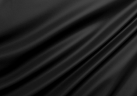 Beautiful Black Silk. Drapery Textile Background. Abstract soft elegant satin. Фото со стока