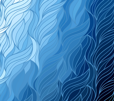 Abstract vector color background of doodle hand drawn lines. Blue floral pattern. Wave wallpaper Ilustrace