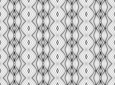 Vector Black White Seamless Wallpaper. Vintage Monochrome Pattern. Retro Background 版權商用圖片 - 126662892