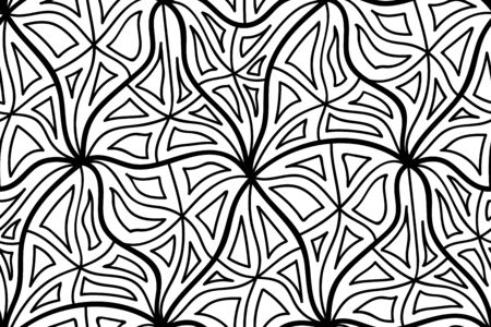 Abstract vector seamless floral background of doodle hand drawn lines. Monochrome wave pattern. Coloring book page. Black white wallpaper.