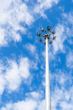 Light pole Power poles are high in the sky Feeling fresh. Stock Photo