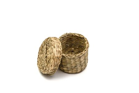 basketry: Thermos Rattan and Bamboo Wickerwork with isolated on white backgrounds and images.