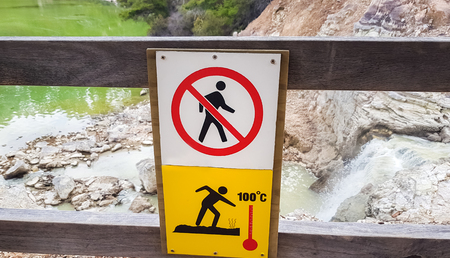 Signs and forbid anyone to enter.Because inside has very dangerous and Because there are hot springs on the inside. Stock Photo