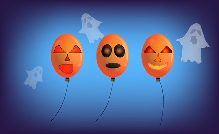 Balloons And ghosts with a scary face and decoration in various festivals.And the Halloween holiday and with the backdrop of the night. Illusztráció