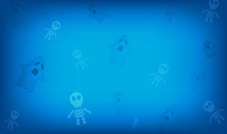 Vector halloween festival and the cute cartoon characters and skeleton ghost.And the dark tone makes scary and can be used as a background.