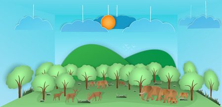 Vector nature and forest, where the deer And elephants and wild animals live.And the plentiful world and covered with the green of the nature and a papercut and placed in the room and Or used as backg