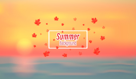 Vector background of holiday in the summer.And ocean view and colorful in evenings and warm tone, and can be used as a backdrop.