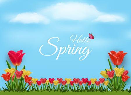 Sfondo vettoriale della natura per dare il benvenuto alla primavera. E una varietà di bouquet colorati di tulipani e si sentono freschi e possono essere utilizzati come sfondo durante il festival.