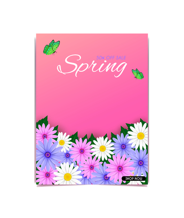 Vector magazine covers and natural scenery. And a variety of colorful bouquet of tulips And feel fresh and can be used as the backdrop during the festival. Banco de Imagens - 124822877