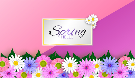 Vector Spring sale background and beautiful flowers.And The advertising and illustration, or template And can be used as wallpaper. Banco de Imagens - 124822878